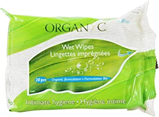 Feminine Hygiene Wipes Organyc 20 ct Pack