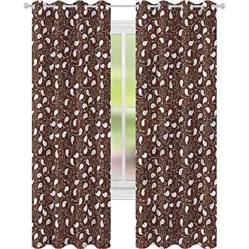 Cortina de ventana con siluetas abstractas tradicionales de 42 x 72 cm de ancho para sala de estar