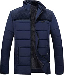Men Faux Fur Lined Quilted Casual Winter Solid Warm Zipper Long Sleeve Jacket Coat Outwear Tops