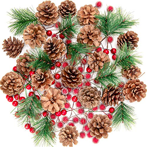 Whaline Christmas Wreath Making Decoration Artificial Pine Cone Berry Set Red Holly Berries Natural Pinecones Branches for Xmas Tree Ornament Home Fall Winter Christmas Party DIY Crafts, 130Pcs