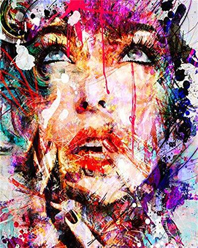 YEESAM ART DIY Ölgemälde Malen nach Zahlen Erwachsene Kinder, Abstrakt Bunt Frauen Gesicht Zahlenmalerei ab 5 Öl Wandkunst (Bunt, mit Rahmen)