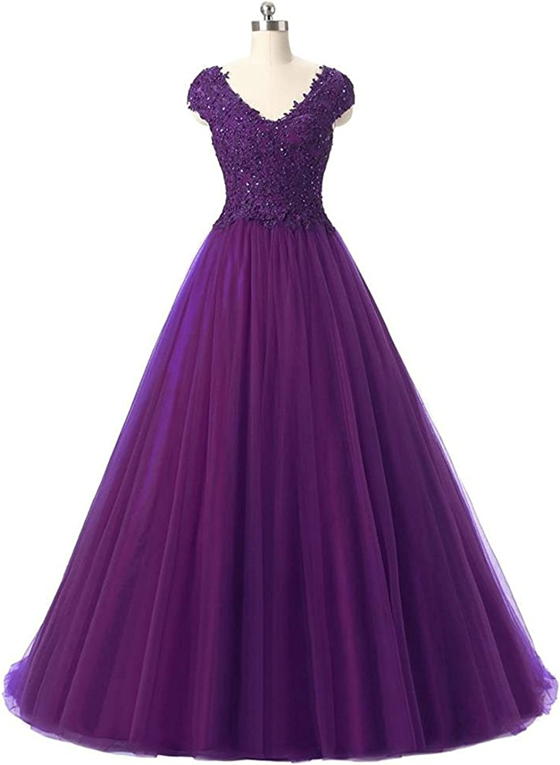 KAMA BRIDAL Women's Lace Applique Prom Dresses Long 2017 V Neck Beading Evening Ball Gown