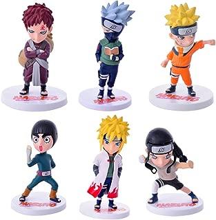 Bowinr 6pcs Naruto Shippuden Mini PVC Figure, Naruto, Kakashi, Gaara, Rock Lee, Neji, Minato Collectible Action Figure for Home Decor