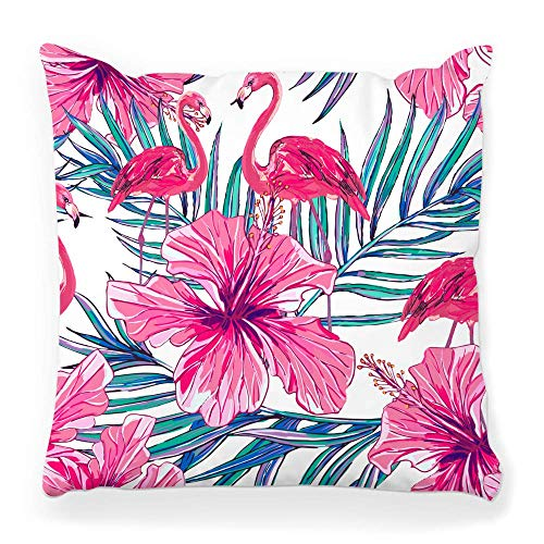 Fantastic Fairy Soft Square Pillow Cover 20x20 Jungle Pattern Pink Palm Hibiscus Flamingo Flower Leaf Spring Summer Beach Beauty Bird Blossom
