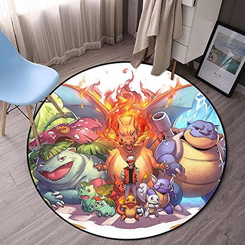 Kele Alfombra para niños Redonda Anime Pikachu nórdico Creativo de Dibujos Animados Lindo Dormitorio niños y niñas Moderna Alfombra Antideslizante 180cm