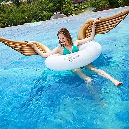 Flotador de piscina Fila flotante Cama de aire Juguete acuático para adultos Alas de ángel Anillo de natación Piscina Playa Alas doradas Fila flotante inflable Anillo de natación y sillón recl