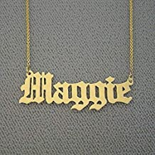 Old English Name Necklace 10k Gold Personalized Custom Made Nameplate Charm Chain