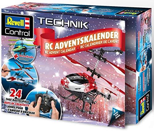 Revell 01028 Adventskalender RC Helikopter mit 2.4 GHz, LED-Beleuchtung, Gyro, inkl. Batterien in 24 Tagen zum selbstgebauten, ferngesteuerten Hubschrauber, Rot&Grün