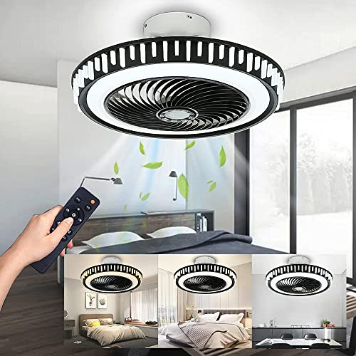 popular LCiWZ Modern Ceiling Fan with Lights,20in Enclosed Ceiling Fan with Remote,72W Timing Low Profile Ceiling popular Fans,3 Color Dimmable,Invisible Blades,3 Speeds,Black Ceiling online Fan for Bedroom Children's room online
