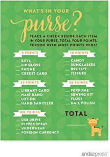 Andaz Press Jungle Safari Baby Shower Collection, Games, Activities, Decorations, What's in Your Purse? Game Cards, 20-pack