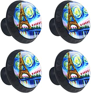 Anmarco Painting Eiffel Tower Drawer Knobs Pull Handles 30MM 4 Pcs Glass Cabinet Drawer Pulls for Home Kitchen Cupboard