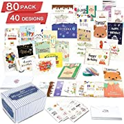 Birthday Cards, 80 Pack 40 Designs Feela Happy Birthday Card Assorted Bulk with 80 Blank Envelopes 84 Pieces of Stickers 3 Washi Tapes, 4 X 6 Inches Greeting Cards For Girls Family Friends