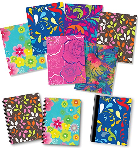 NEW GENERATION – Floral 2 Pocket Folders, Heavy Duty Fashion Durable 6 Assorted Flowers Designs School Folders,Set Included with1 Composition Notebook, 2 Spiral Notebooks - 9 Pack