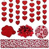 Kesote 2000 Pétalos de Rosa Roja 3 Guirnaldas Colgantes Corazón 1 Camino de Mesa Rojo para Decoración de Bodas y el Día de San Valentín