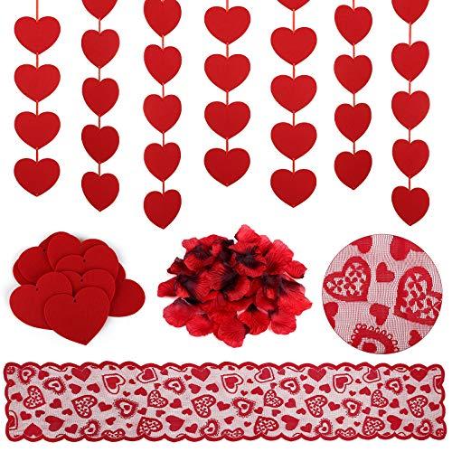 Kesote Zestaw dekoracyjny na Walentynki, 2000 szt. płatków róży 3 szt. girlanda w kształcie serca baner czerwony bieżnik na stół do dekoracji weselnej