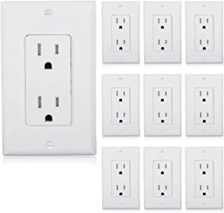 Maxxima Tamper Resistant Duplex Receptacle Standard Decorative Electrical Wall Outlet 15A White, Wall Plates Included (Pack of 10)
