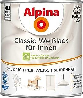 Alpina Farben GmbH, Classic Weißlack für Innen, RAL 9010, Reinweiß, Seidenmatt