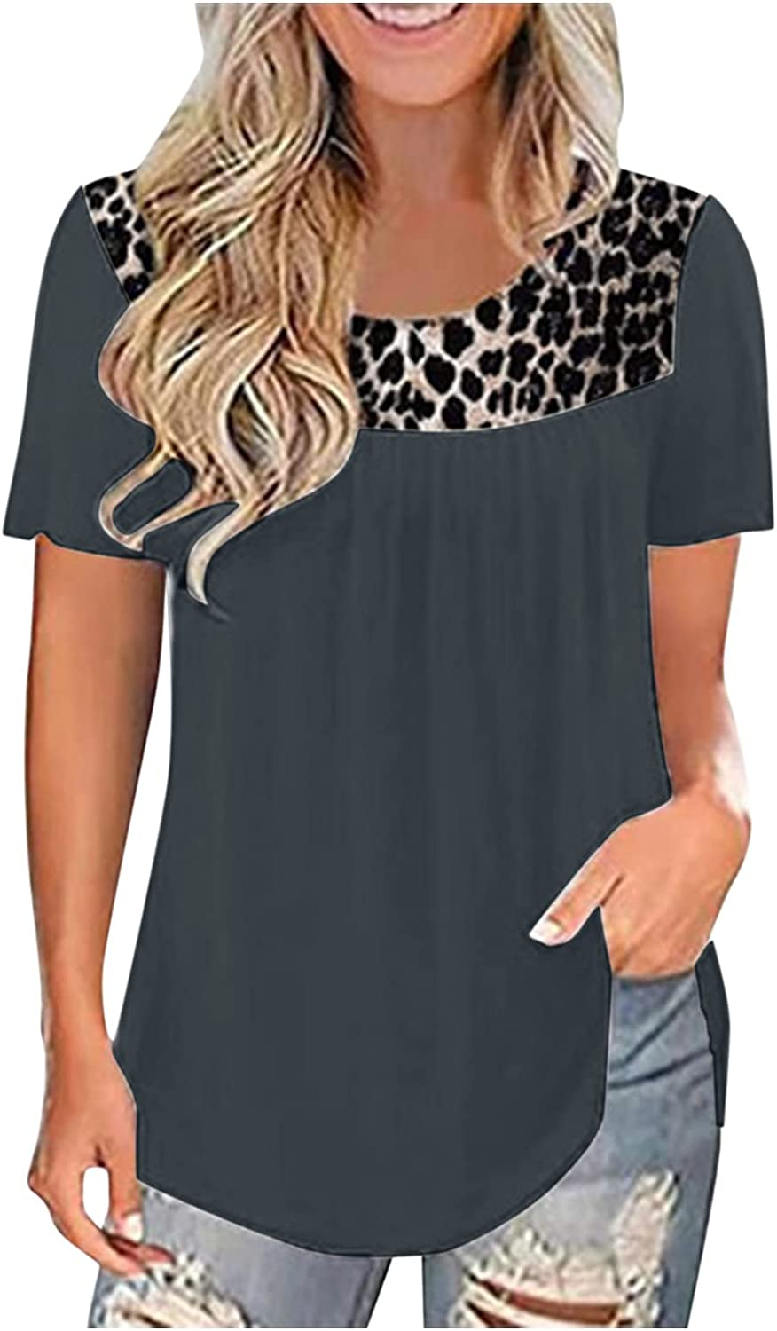 Shirts for Women,Womens Summer Tops and Blouses Lace Crew Neck Tees Short Sleeve Tshirts Dressy Casual Basic Tunic