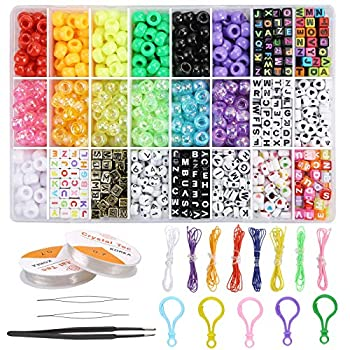 1200 Pcs Bracelets Necklace Making Kit Pony Beads for Jewelry Making-Bead Craft Kit Set Pony Seed Letter Alphabet DIY Art and Craft for Her Women Wife Girlfriend Adult Kids Age 7 12 by PartyFUN