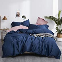 EAVD King Duvet Cover Navy Blue Bedding Set(1 Duvet Cover+2 Button Pillowcases) Super Soft 100% Long Staple Cotton Navy Bl...