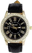 Geneva Women's Leather Band Roman Rhinestone Quartz Wrist Watch Watches