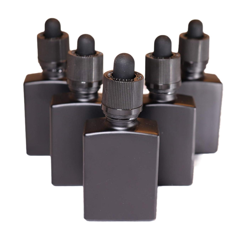 に対応する火山説明的4 Queens ガラス製スポイト遮光瓶【チャイルドロック付き】30ml 5本セット アロマ 香水 リキッド保存用 詰め替え用 マットブラック