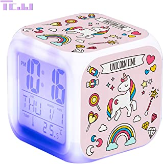 TCJJ Unicornio Despertador Digital para Niñas,Reloj de Cabecera con LED Luz de Noche para Infantil Hora de Visualización Temperatura Fecha de Alarma (Rosa)