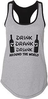 "Women's Two-Tone Tank Top ""Drink Drank Drunk Around The World"" Cardio Shirt"