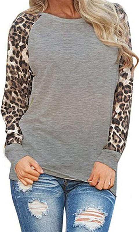 Tsmile Womens Leopard Print T Shirts Trendy Plus Size Long Sleeve O Neck Solid Loose Patchwork Tops Knits Tee