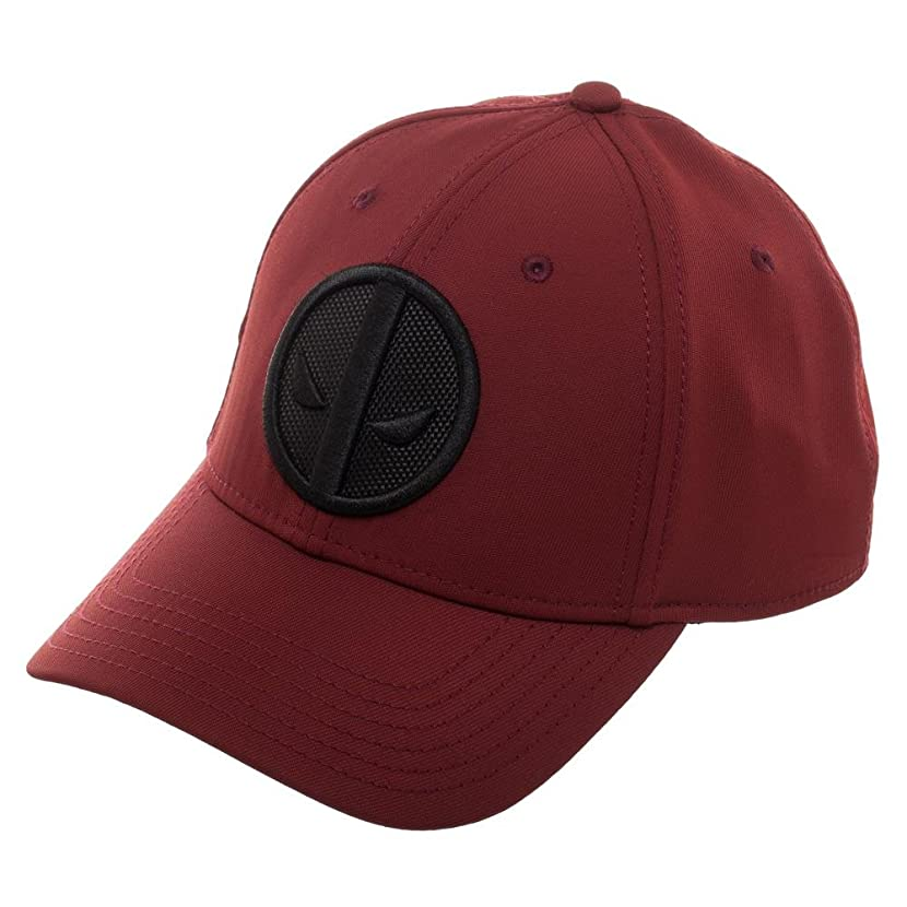 Bioworld Marvel Deadpool Logo Flatbill, Black Patch Insignia with Stitching, MERC with A Mouth, Red, OFSA