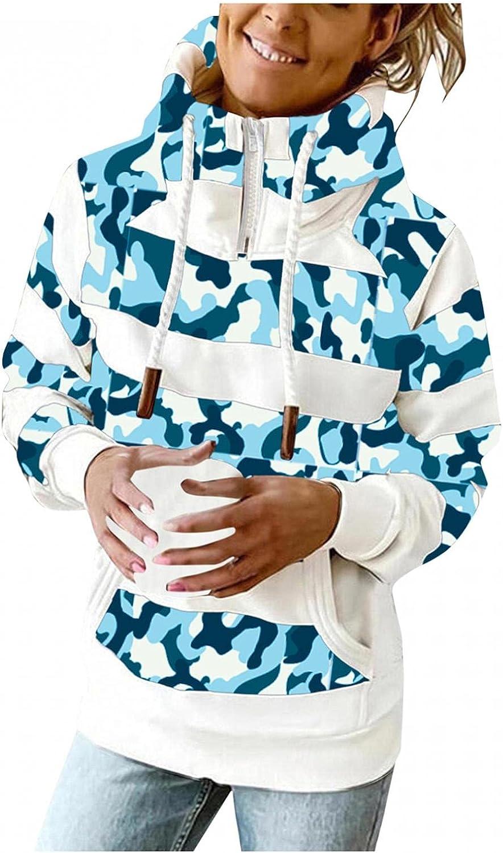 UOCUFY Hoodies for Women Zip Up,Women Turtle Neck 1/4 Zipper Lightweight Sweatshirts Long Sleeve Pullover Printed Hooded