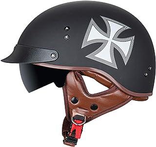 Adultes Casque Moto Bols R/étro Harley Demi Casque Dot Homologu/é Casque de Moto /à Visage Ouvert pour Street Bike Cruiser Chopper Moped Scoote ATV Hommes//Femmes,S