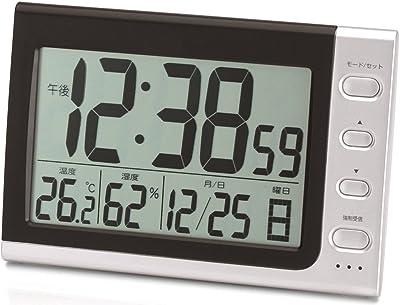 ADESSO(アデッソ) 置き時計 電波 デジタル 電波時計 温度 湿度 曜日 日付表示 シルバー NA-816