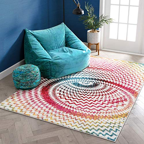 Warp Multi Chevron Red Blue Yellow Green Zigzag Modern Abstract 3D Area Rug 5 x 7 (5'3
