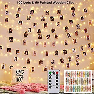 Magnoloran 33ft Wooden Photo Clips String Lights with Remote & Timer, 100 LED Lights & 50 Painted Clothespins Hanging Pictures, Battery Powered Twinkle Copper Wire Fairy Lights for Festival Decor