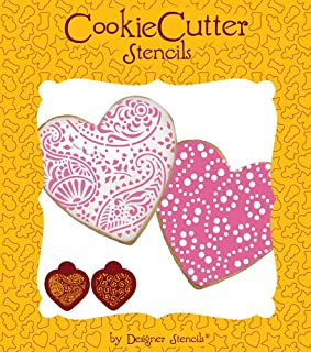 Paisley and Circles Heart Stencil Set (no cutter) by Designer Stencils