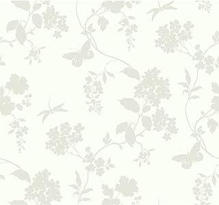 York Wallcoverings Ashford House Scenic Vines Removable Wallpaper, Whites