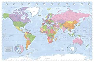 Perfect For Push Pins - World Map - Political 36x24 Poster Art Print Tracking Trips Or Visited Locations
