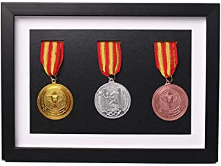 Solid Wood Medal Box,Wooden Display Case for Medals and Badges of Honour?Marathon Medal Storage Box,War Military Three Medal in Black Frame,3D Deep Box Frame to Display War/Military/Sports Medals