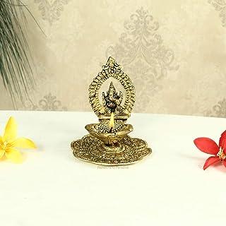 Handicrafts Paradise Ganesh Diya in Metal Antique Golden Finish