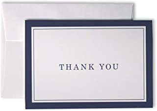 Formal Striped Thick Border Thank You Cards - 48 Cards & Envelopes (Blue)
