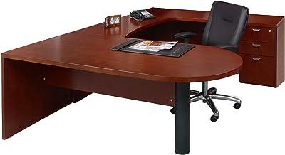 Mayline Mira Desk, Medium Cherry Veneer/Black Paint