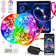 LED Strip Lights, HueLiv 32.8FT 5050RGB Color Changing Kit with 40 Keys Remote APP and Bluetooth Control Lighting Strip works in Sync with Music for the Bedroom, Kitchen, around the TV Waterproof IP65