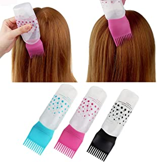 Efaster Hot Sale!Hair Color Applicator Bottles,Root Comb Applicator Bottle, Hair Dye Bottle Applicator Brush Dispensing Salon Hair Coloring Dyeing,Dye and Scalp Treament Essential (Pink)