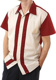 Wanlian Mens Stripe Vintage Cotton Shirts Short Sleeve Casual Rockabilly Bowling Shirts