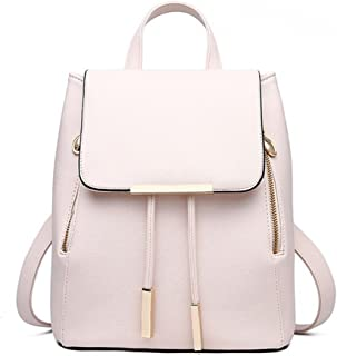 Women's Pu Leather Backpack Purse Ladies Casual Shoulder Bag School Bag for Girls (Beige)
