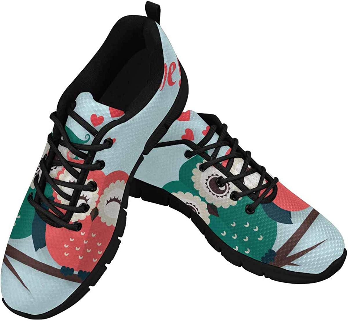 INTERESTPRINT Owl Valentine's Day Women's Running Shoes Mesh Breathable Sports Casual Shoes