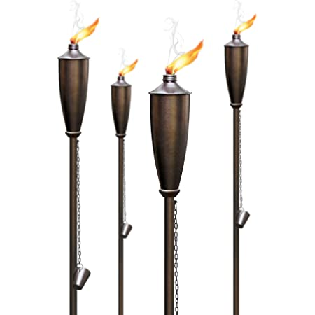 Deco Home Set of 4 Garden Torch - 60inch Citronella Garden Outdoor/Patio Flame Metal Torch - Brown