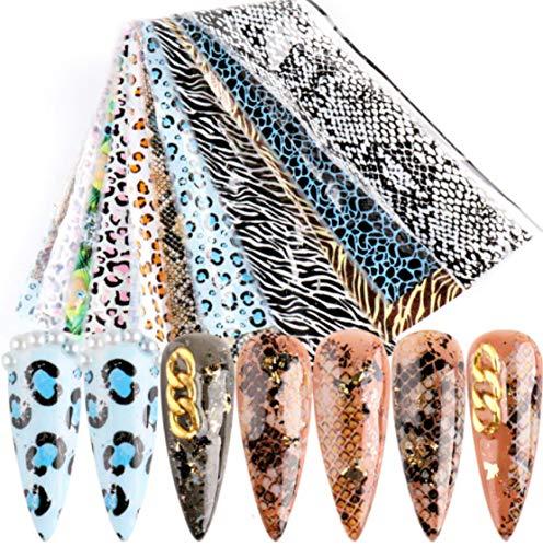 10-teiliges NAILART-FOLIEN-SET #34 ANIMALPRINT-DESIGNS 10 Folien je 20x4cm Zebra, Leopard, Schlangenhaut