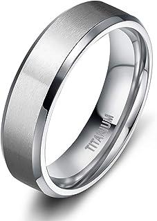 TIGRADE 4MM/6MM/8MM/10MM Unisex Titanium Wedding Band Rings in Comfort Fit Matte Finish for Men Women